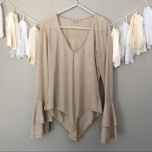 Charlotte Russe Tops - Charlotte Russe Gold Bell Sleeve Body Suit